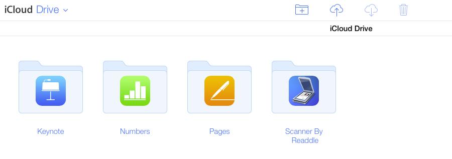 iCloud Drive bestanden met mappen op de website