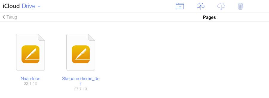 iCloud Drive bestanden, voorbeeld met Pages