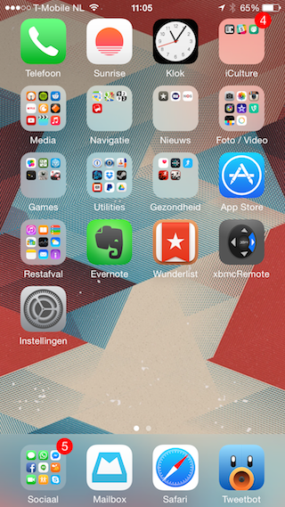Homescreen iPhone 6 normaal