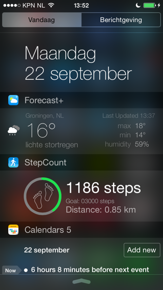 Widgets iOS 8 Stepcount app