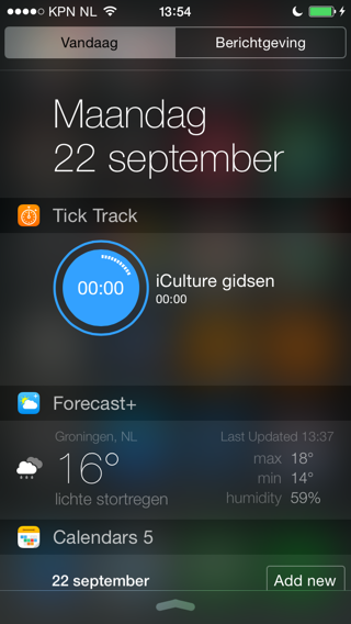 iOS 8 widgets Tick Track