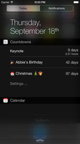 iOS 8 widgets Countdowns iPhone iPad