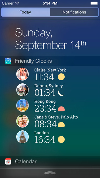 iOS 8 widgets Friendly Clocks iPhone