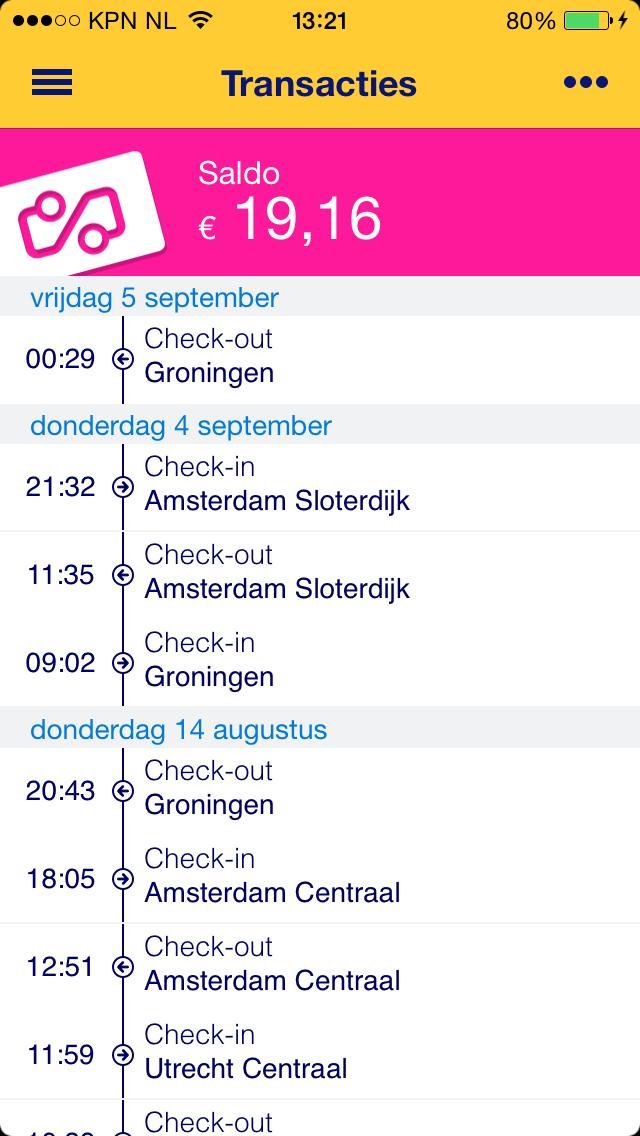 NS Reisplanner Xtra OV chipkaart infopagina