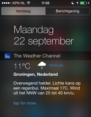 Weer widgets iOS 8 Weather Channel