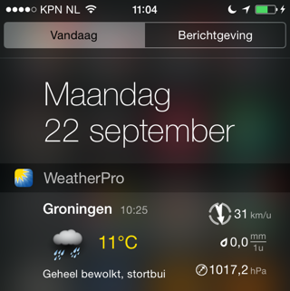 Weer widgets ios 8 WeatherPro
