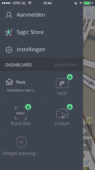 Sygic navigatie app hoofdmenu iPhone