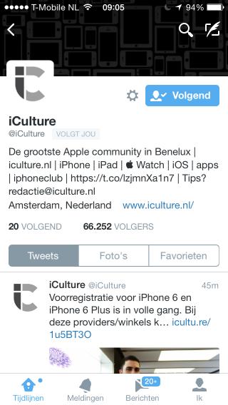 Twitter nieuw profiel iOS 8 (Custom)