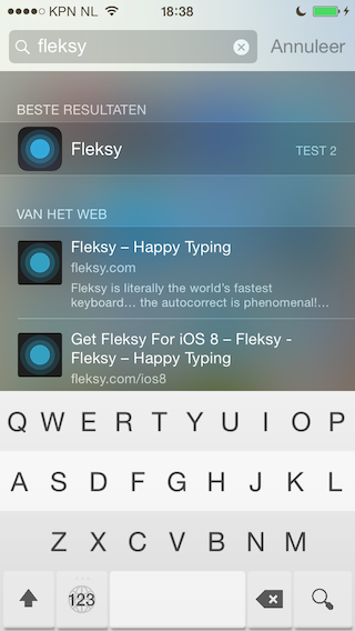 Review Fleksy zoeken in Spotlight