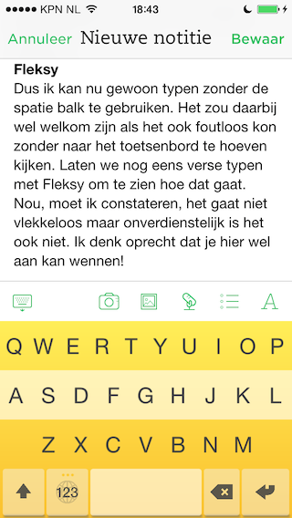 Review Fleksy geel toetsenbord Evernote