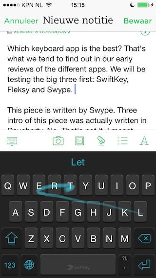 SwiftKey zin typen iOS