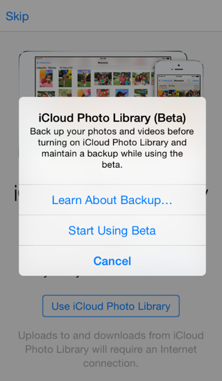 icloud photo library waarschuwing