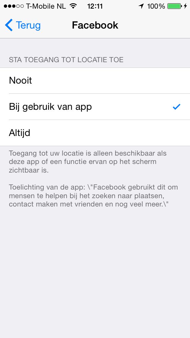 Facebook iOS 8 locatie
