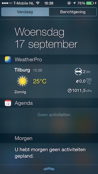 WeatherPro widget iOS 8