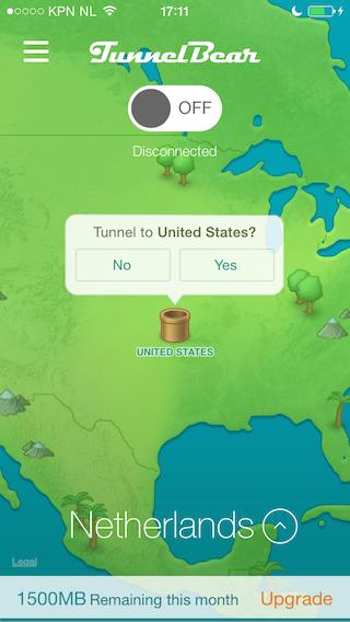 VPN Tunnelbear verbinden met USA