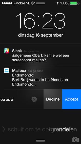 Endomondo vriendverzoek accepteren iPhone