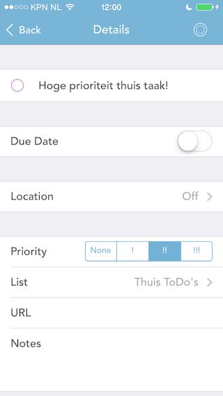 GoodTask prioriteit en details todo