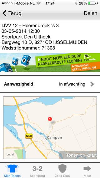 Voetbal.nl afmelden wedstrijd iPhone