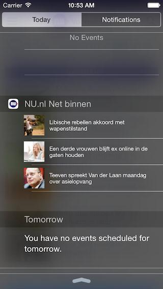 iOS 8 widgets Nederlandse apps NU.nl