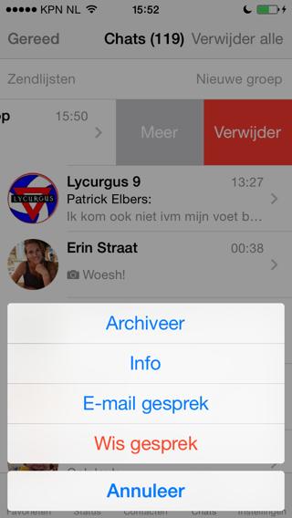 WhatsApp gesprek archiveren