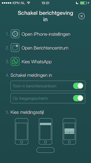 WhatsApp melding pushbericht