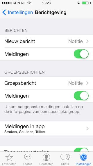 WhatsApp meldingen uitschakelen