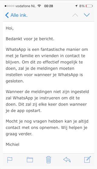 WhatsApp e-mail helpdesk