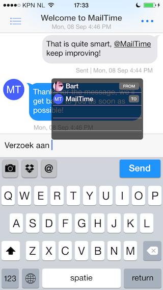 MailTime iPhone slim antwoorden