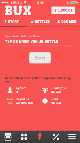 BUX iPhone battle starten