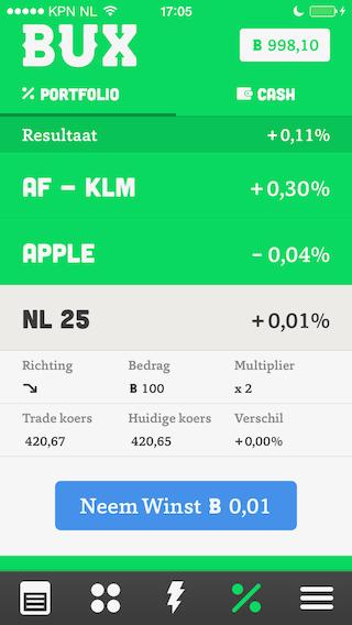 BUX portfolio aandelen iPhone