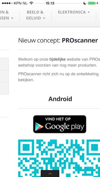 PROscanner website verstrikt