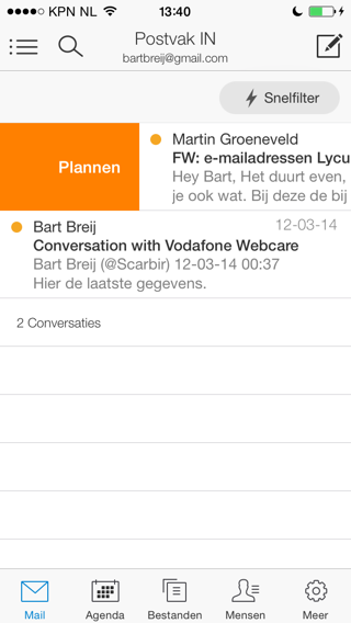 Acompli e-mail plannen iPhone