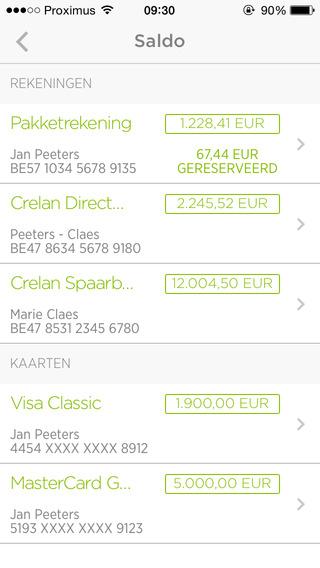 Crelan Mobile App rekeningen