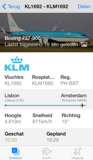 Plane Finder vluchtnummer informatie