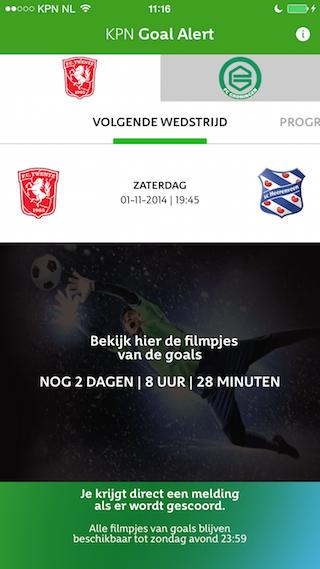 KPN Goal Alert wedstrijd pagina
