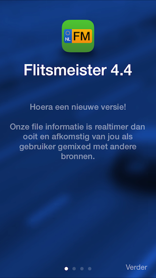 Flitsmeister 4.4 iPhone introscherm