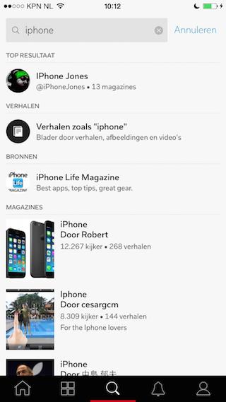 Flipboard 3.0 zoeken op iPhone