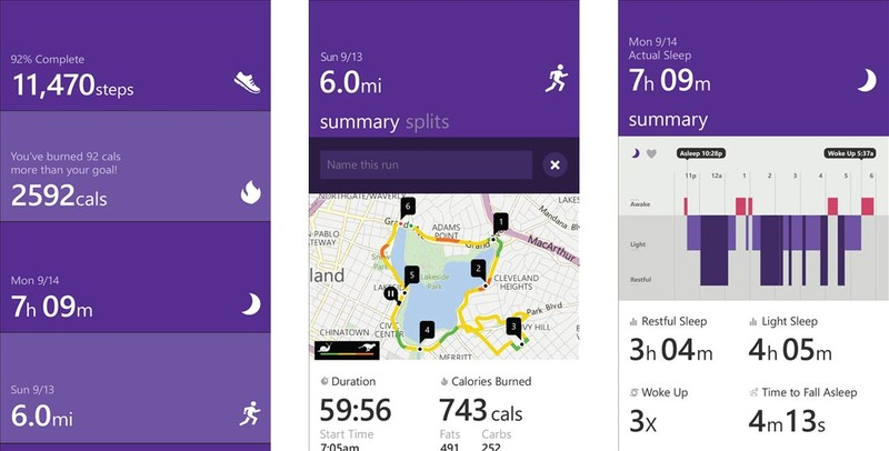 Microsoft Health app screenshots