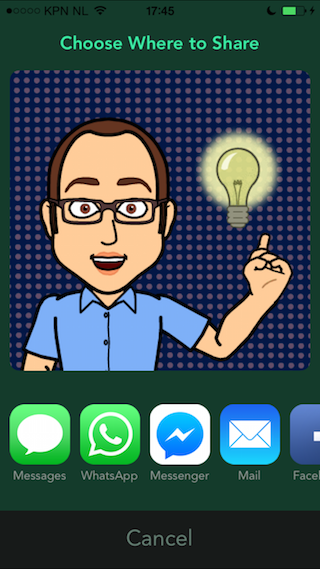 Bitmoji delen vanuit app iPhone