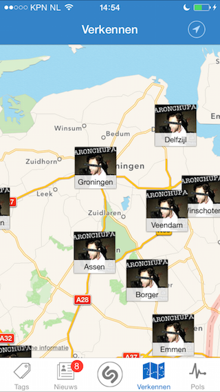 Shazam verkennen op kaart iPhone