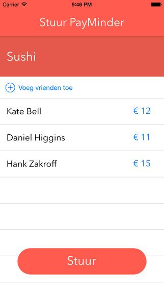 PayMinder terugbetalen via iPhone app