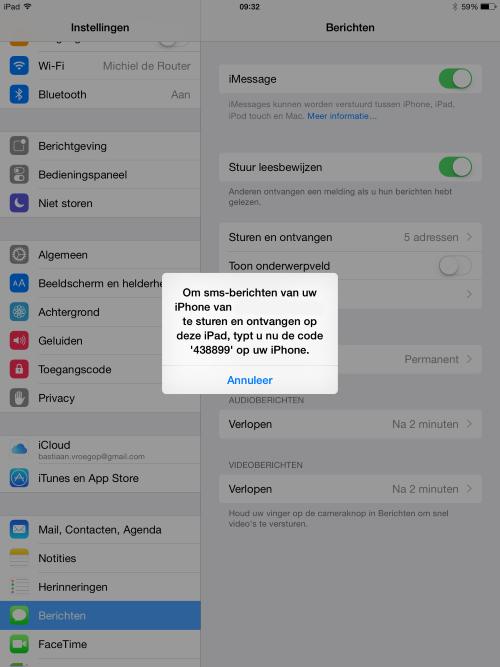 SMS doorsturen iOS 8 iPad (2) (Custom)