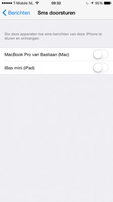 SMS doorsturen iOS 8 code iPhone (Custom)