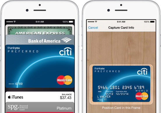 apple pay creditcard scan