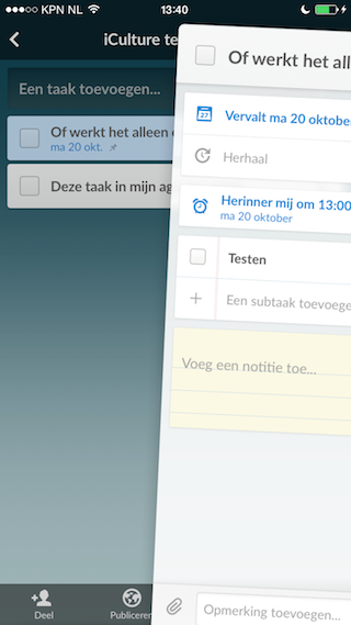 Wunderlist iPhone taak met deadline