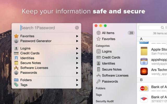 Mac OS X Yosemite apps 1Password