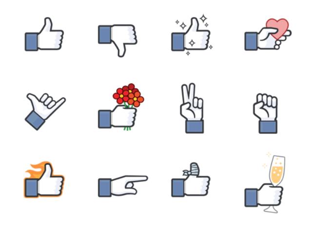 Facebook stickers gebruiken duim omlaag