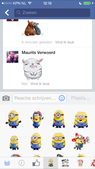 Facebook stickers gebruiken Despicable Me 2
