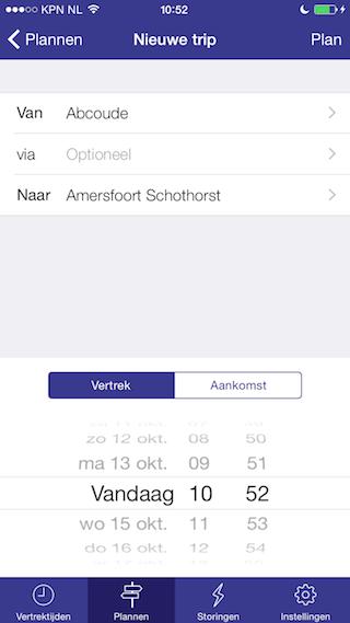 Trein reis plannen iPhone
