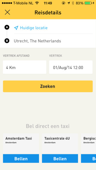 Yeller samenrijden in taxi reisdetails iPhone
